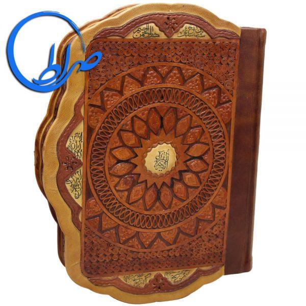 قرآن نفیس جعبه دار طرح صدف چرم طبیعی