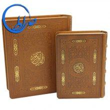 قرآن نفیس جعبه دار چرمی کاغذ گلاسه ترجمه انصاریان